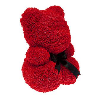 Мишка из роз 40 см красного цвета