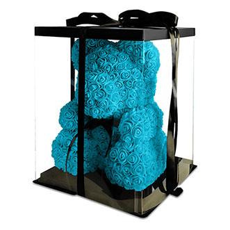 Мишка из роз 70 см голубого цвета